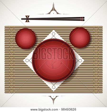 Bamboo Mat With Plates And Chopsticks Setting For Lunch Traditional Style. Vector Illustration.
