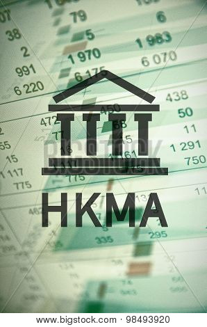 Building icon with inscription HKMA