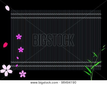 Black Bamboo Sushi Rolling Mat. Background Vector Illustration.