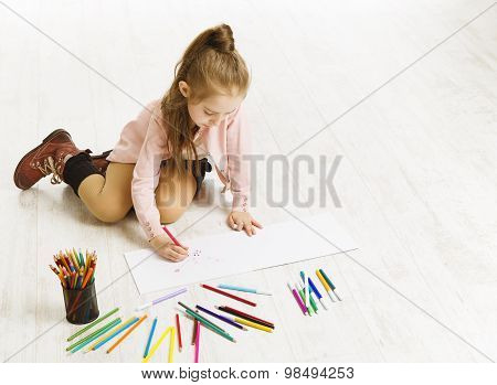 Kid Girl Drawing Color Pencils, Artistic Child Education, Painting On White