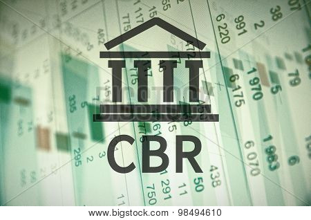 Building icon with inscription CBR