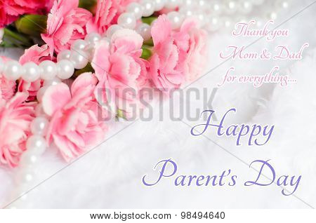 Pink Carnation Flower Background With Happy Parents Day Text