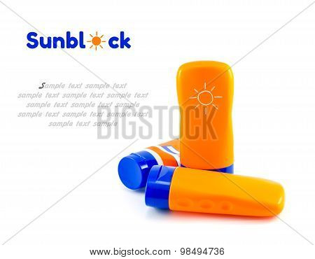 Summer Concept : Beach Items - Bottles With Sunblock Lotion