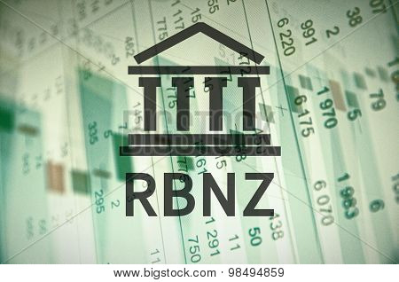 Building icon with inscription RBNZ