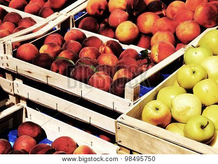 Basket Of Apples And Peaches For Sale At Market Fruit In Summer