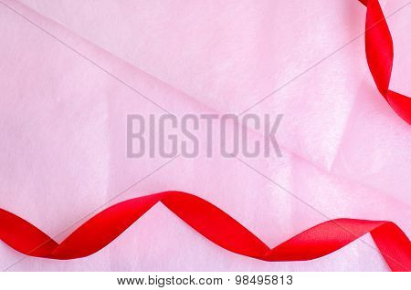 Rosy Pink Paper Texture Background With Red Ribbon