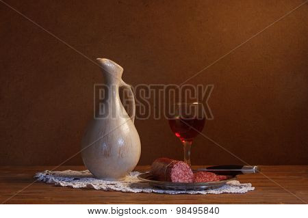 Still Life With Wine And Sausage