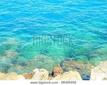 Blue Sea Background, Beautiful Colors Mediterranean Sea, Monte Carlo, Europe.