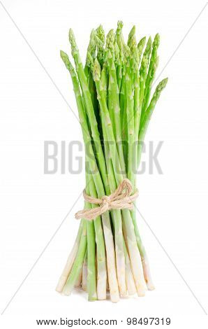 Green Asparagus Isolate On White With Clipping Path
