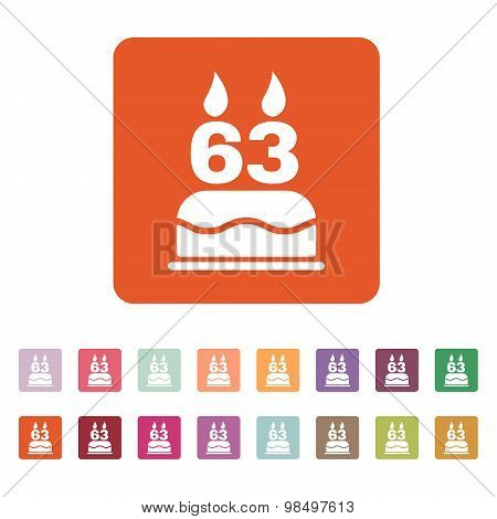 The birthday cake with candles in the form of number 63 icon. Birthday symbol. Flat