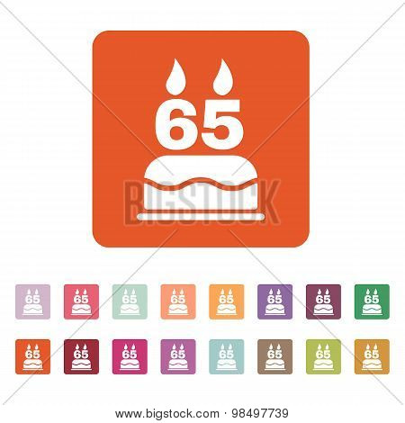 The birthday cake with candles in the form of number 65 icon. Birthday symbol. Flat