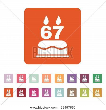 The birthday cake with candles in the form of number 67 icon. Birthday symbol. Flat