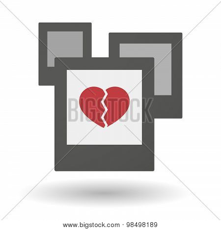 Isolated Group Of Photos With A Broken Heart