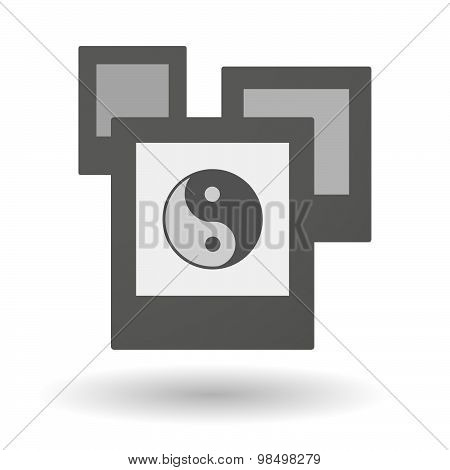 Isolated Group Of Photos With A Ying Yang