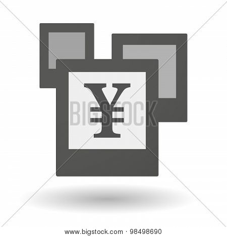 Isolated Group Of Photos With A Yen Sign