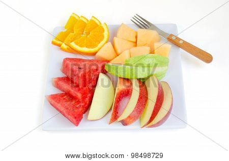 Fresh Fruits In Plate Apple, Melon,watermelon,orange And Guava With Clipping Path