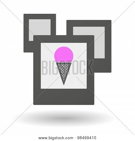 Isolated Group Of Photos With A Cone Ice Cream