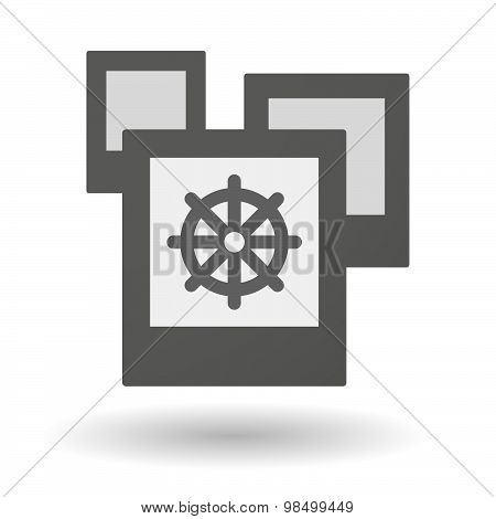 Isolated Group Of Photos With A Dharma Chakra Sign