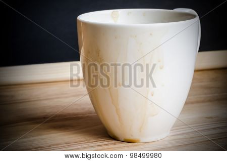 Coffee mug with stains on woodden table