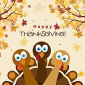 Template greeting card with a happy Thanksgiving turkey, vector illustration poster