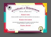 Certificate Of Archievement Template Design. Vector Illustration poster