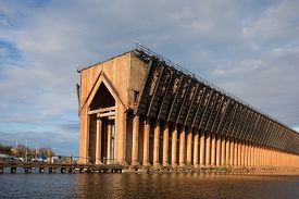 picture of dock a lake  - Abandoned ore dock once used to transfer coal and other materials between railroad cars and Lake Superior ore boats - JPG