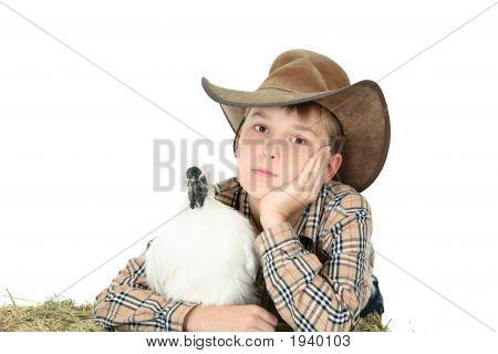 Country Boy mit Nutztieren mit Exemplar