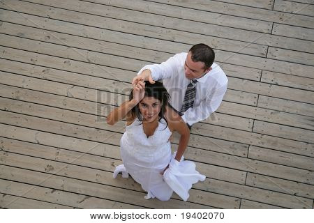 Just Married - bride and groom dancing their opening dance