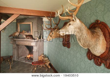 Restaurant with hunting decor.