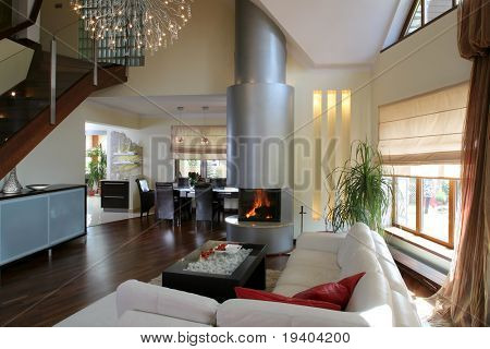 A modern living room interior with fireplace and leather couch