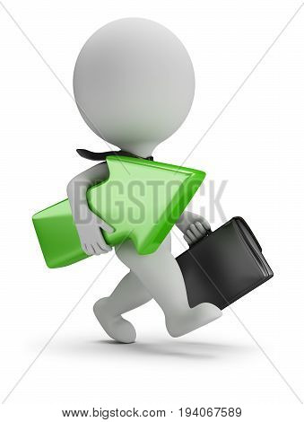 3d small businessman running with a green arrow in hands. 3d image. White background.