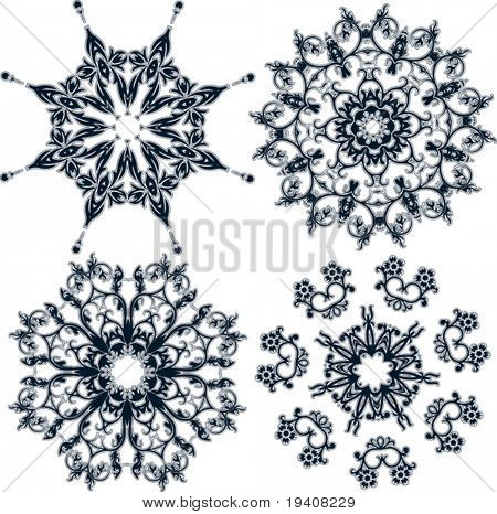 Floral snowflakes, set, element for design, vector illustration