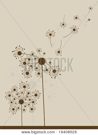 Аbstract dandelion background, vector illustration