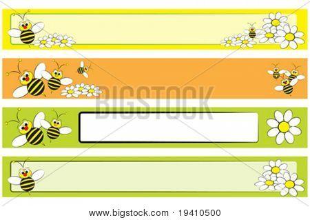 Legen Sie eine Biene mit weißen Margeriten für Kinder - Label nützliche Web-banner