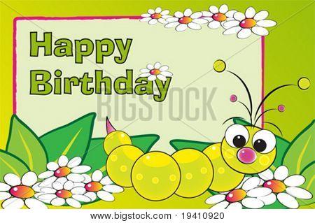 Grub en bloemen - verjaardagskaart voor kinderen