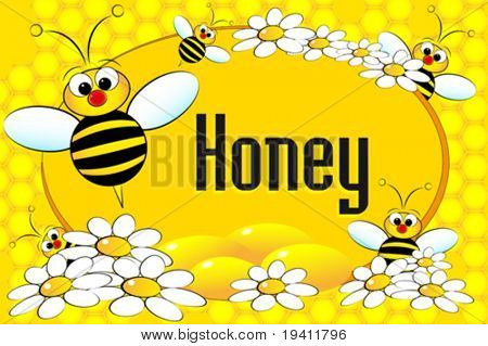 Honey label with bees, flowers and honeycomb. Brochure or business card useful