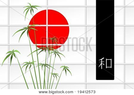 Ikebana composition with japanese red sun and ideogram