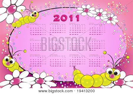 2011 calendar with grubs and flowers, kids illustration on pink background