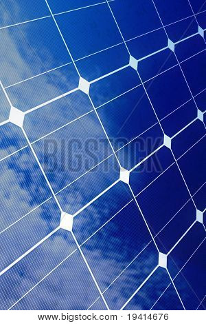 Array of blue solar cells with reflection of cloudy sky (detailed render)