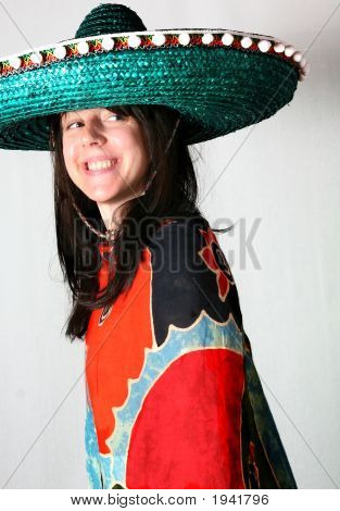 Woman Smile With Mexican Hat