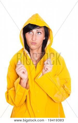 Rainy weather frustrated woman wearing trenchcoat