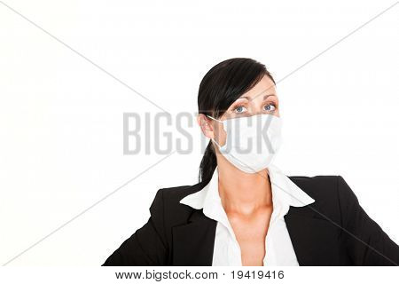 Business-woman wearing a mask for protection