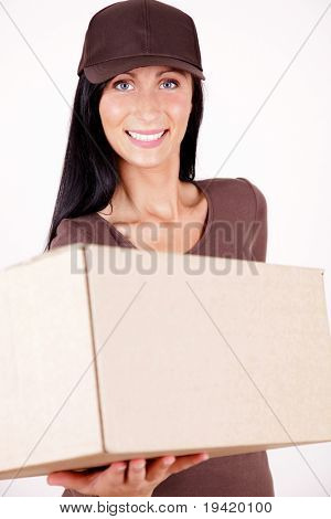 Friendly female postman having a packet for you holding packet