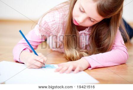 Learning child doing homework for school