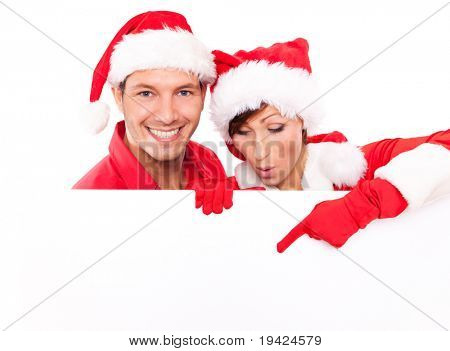 santa clause pair holding billboard