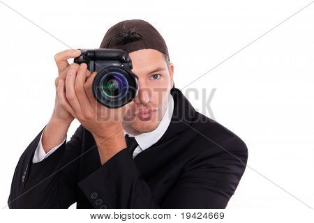 Paparazzi man taking picture with photo camera