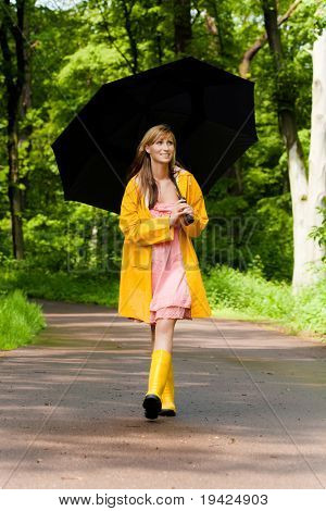 park walking female with umbrella