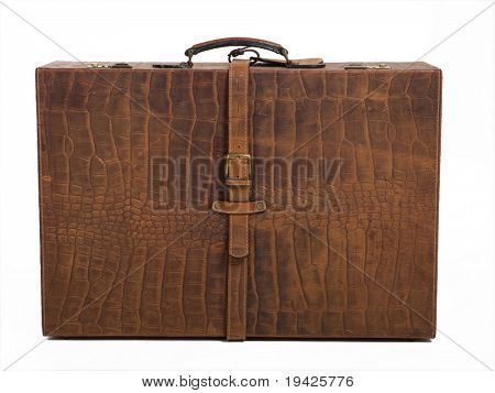 leather suitcase on a isolated background