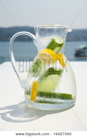 refreshing water with lemon and cucumber