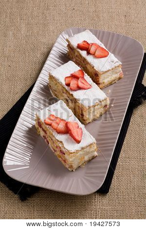 mille-feuille pastry with strawberries  and cream